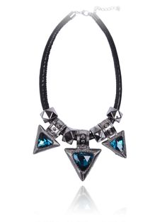 Fashion+Blue+Gemstone+Silver+Triangle+Necklace+US$8.67