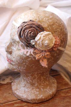Vintage Boho Lace Headband -Pretty Peach & Cocoa Brown Headband via Etsy.