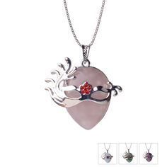 Pink Quartz Fox Mask Tear Drop Necklaces Pendants Healing Crystal Opal Aventurine Tiger eye Vintage Necklace Party Gift