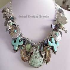 Just found her site...lovin her work!!!!  Schaef Designs Labradorite Abalone Turquoise & Sterling Silver Charm Necklace