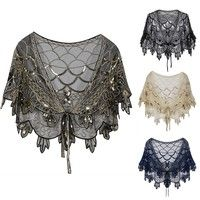 Buy Women's Shawl Beaded Evening Wraps Flapper at Wish - Shopping Made Fun Shawls For Evening Dresses, Evening Shawls And Wraps, 1920s Evening Dress, Roaring 20s Dresses, Great Gatsby Dresses, 1920s Fashion Women, Great Gatsby Fashion, Estilo Gatsby, Dance Accessories