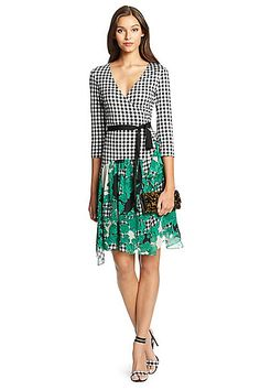DVF Riviera Jersey and Chiffon Combo Wrap Dress in in Gingham Black/ Toile Collage Green