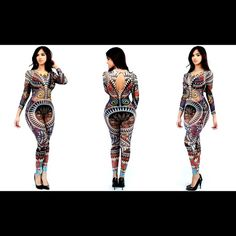 Sexy sheer mesh tattoo jumpsuit Description This semi-sheer mesh jumpsuit features a multicolor tribal print throughout, a round neckline, and keyhole back with button closure. Finished with long sleeves and fitted legs. Bra and shorts not included. Pants Jumpsuits & Rompers