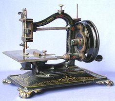 "❤✄◡ً✄❤ The ""Magic"" chain stitch machine was marketed by Bradbury of England in the 1870's. It features an improved gear ratio drive, however in many ways the machine mimicks Guhl & Harbeck's Original Express. - http://www.dincum.com/library/lib_bradbury_magic.html"