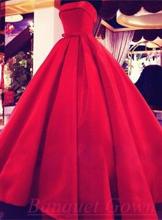 Red Ball Gown Evening Dresses 2016 Strapless with Bowknot Red Prom Dress