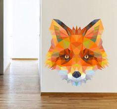 Striking geometric wall sticker illustration of a cunning fox, from our wild animals wall stickers collection. Cunning Fox, Origami, Geometric Fox, Fox Head, Fox Decor, Fox Tattoo, Diy Interior, Wall Stickers, Graphic Design