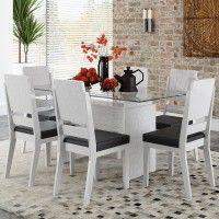 Conjunto Sala de Jantar Esmeralda Mesa 160x80 cm e 6 Cadeiras Branco Linho - RV Móveis