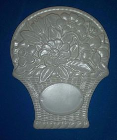 Pfaltzgraff Stoneware Trivet Sculpted Flower Basket Wall Hanging USA White Gray #Pfaltzgraff