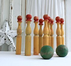 Set of Ten Original Old Wooden Skittles, hand painted, worn and chippy original paint, beautifully decorative
