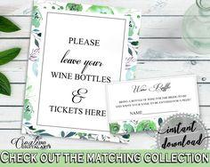 Wine Raffle Bridal Shower Wine Raffle Botanic Watercolor Bridal Shower Wine Raffle Bridal Shower Botanic Watercolor Wine Raffle Green 1LIZN - Digital Product bridal shower wedding bride to be bridesmaids