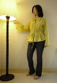 Pretty..Pretty III - Steampunk , Victorian Long Sleeve Empire Waist Yellow Light Cotton Blouse/ Vest. $36.00, via Etsy.