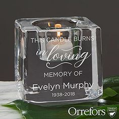 """Buy Kosta Boda Grey Votive Personalized Memorial Candle Holder you can customize with your own text. Add any name and memorial dates below our """"In Memory of"""" design custom engraved on the grey votive candle holder. Personalized Memorial Gifts, Personalized Candles, Unique Candles, Custom Candles, Hurricane Candle Holders, Votive Candles, Beeswax Candles, Glass Block Crafts, Memorial Ornaments"""