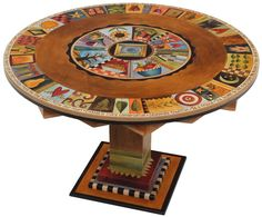 Hand painted wood circle dining room table / furniture - Sticks