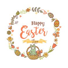 Cute Easte festive frame for greeting card with holiday traditional symbols. in doodle style with Cute Easter rabbit in a basket on white background.