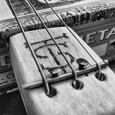 Sweat & Tears CBG! Music Instruments Diy, Homemade Instruments, Empty Cigar Boxes, Cigar Box Guitar Plans, Guitar Diy, Guitar Stand, Guitar Design, Vintage Travel Posters, Banjo