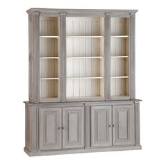 The antique gray & off white makes this old china cabinet real classy. Love the bead board in the back. Great idea taking the doors off too.