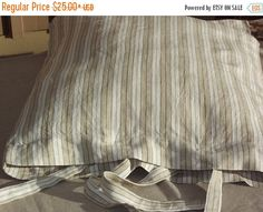 Autumn sale Lovely Stripes Linen Pillow Case with by LinenFactory