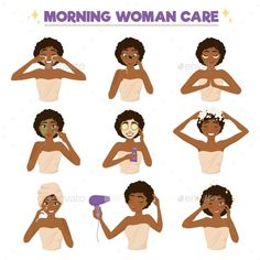 Afro American Woman Morning Routine Icon Set