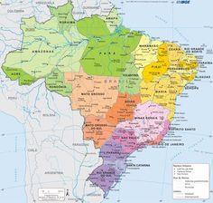 Brasil | Mapa político | O Brasil só não faz limite territorial com o Chile e o Equador