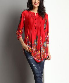 Look what I found on #zulily! Red Garden Notch Neck Pin Tuck Tunic #zulilyfinds Ordered it - now we will see!