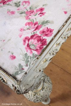 Vintage Home - Pretty Vintage French Fabric Inlaid Table: www.vintage-home.co.uk