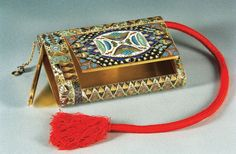 'Cigar case,' Feodor Ruckert for Faberge, Russia, 1908-1916, gilded silver and shaded cloisonne enamel