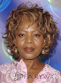 Cute Short Wavy Brown African American Capless Wigs for Women 8 Inch