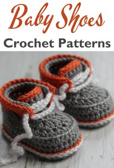 Baby Shoes Crochet Patterns – Baby Booties Gift - A More Crafty Life Crochet Baby Sandals, Crochet Shoes, Crochet Baby Booties, Crochet Slippers, Baby Knitting Patterns, Baby Patterns, Crochet Patterns, Baby Shoes Pattern, Shoe Pattern