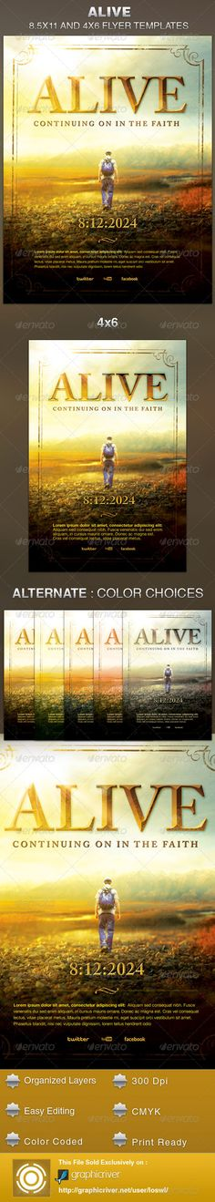 Alive Church Flyer Template — Photoshop PSD #design #christian • Available here → https://graphicriver.net/item/alive-church-flyer-template/5591976?ref=pxcr