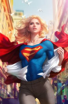 bird blonde hair blue eyes blurry cape city collarbone dc comics depth of field emblem emphasis lines highres medium hair parted lips realistic red cape solo stanley lau super suit under clothes supergirl superhero superman (series) Marvel Dc Comics, Heros Comics, Dc Comics Art, Dc Heroes, Dc Comics Girls, Marvel Girls, Marvel Avengers, Supergirl Comic, Supergirl 2016