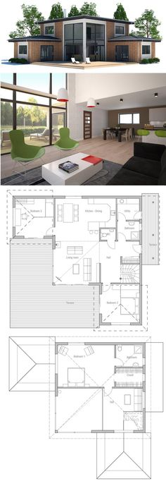 Small Modern House Plan, Home plan, three bedroom house design - House Plans, Home Plan Designs, Floor Plans and Blueprints Two Story House Plans, House Layout Plans, Craftsman House Plans, New House Plans, House Layouts, House Floor Plans, Craftsman Homes, Modern Craftsman, Sims 4 Houses Layout