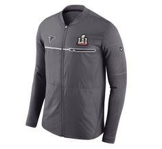 13bf29f17b8 Men s New England Patriots Nike Gray Super Bowl LI Bound Media Day Sideline  Hybrid Full-Zip Jacket