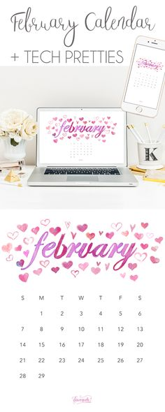 February 2016 Calendar + Tech Pretties | DawnNicoleDesigns.com