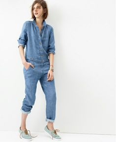 Go all-in-one, head-to-toe denim on denim. Chambray Machinist Jumpsuit. #denimmadewell