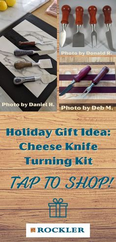 Serve up your cheese platters in style with this array of four specialty cheese knives, each showcasing a custom handle turned from the material of your choice. This kit is a great gift idea for the woodturner in your family! Let Rockler help you create with confidence this holiday season.  #createwithconfidence #turningkits #cheeseknife #fourpiece Lathe Tools, Wood Lathe, Lathe Accessories, Wood Turning Projects, Cheese Platters, Woodturning, Wood Crafts, Holiday Gifts, Knives