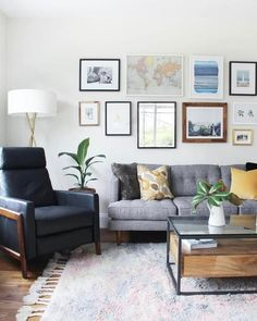 So excited to share how our living room turned out! Living Room Update, Boho Living Room, Living Room Grey, Living Room Modern, Living Room Decor, Gallery Wall Living Room Couch, Home Room Design, Interior Design Living Room, Kitchen Interior