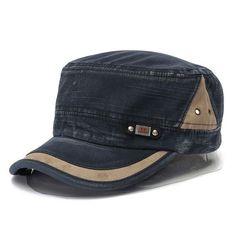 ca10c7a2 Unisex Cotton Blend Military Washed Baseball Cap Vintage Army Plain Flat Cadet  Hat For Men Women