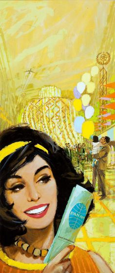 HOFFMAN Century) Pan Am Airlines Advertisement Mixed media on board x in. Signed lower right - Available at 2011 October Illustration. Pan Am, Vintage Advertisements, Vintage Ads, Vintage Airline, Voyage Usa, Boston Public Library, Vintage Travel Posters, Old Ads, Mellow Yellow