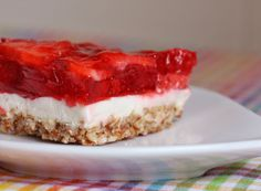 Triple Layer Dessert Salad: pretzels, butter, stevia or honey, heavy cream, SF instant vanilla pudding pwd, cream cheese, SF Jell-O, strawberries or mixed berries