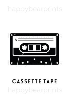Black Cassette Tape Print Wall Print Wall Decor by HappyBearPrints