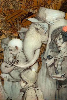 "João Ruas (b. 1981) is a visual artist from São Paulo,  "" Elephantman "" (2008) Mixed Media on Fabriano"