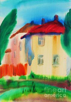 Summer in Cesis Latvia by Tatjana Krilova Watercolors, Greeting Cards, Wall Art, Day, Summer, Painting, Water Colors, Summer Time, Painting Art