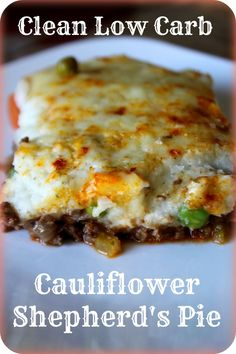 "Clean Low Carb GF Cauliflower Shepherd's Pie ""Here's a Gluten free, low carb recipe for Shepherds pie - its topped with mashed cauliflower. Its a nutrient dense meal in one. So delicious - we will be putting this one into our regular rotation! Carb Free Recipes, Paleo Recipes, Cooking Recipes, Carb Free Meals, Low Carb Hamburger Recipes, Bison Recipes, Lower Carb Meals, Candida Diet Recipes, Banting Recipes"