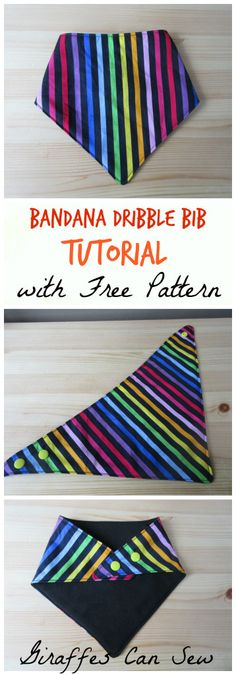 Bandana bib pattern and tutorial by Giraffes can sew. An easy tutorial to make your own cute dribble bibs, with a free pattern!