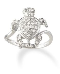 White Gold Diamond Turtle Ring - Also Available in Yellow Gold. Jewelry Gifts, Jewelery, Jewelry Accessories, Jewelry Box, Jewelry Making, Diy Jewellery, Turtle Ring, Turtle Necklace, Sea Turtle Jewelry