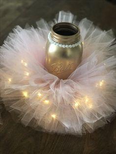 Pink and gold Tutu mason jars with fairy lights!!