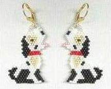 Puppy with A Heart of Gold Earrings by Bead Art by Ronit