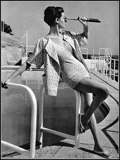 Simone in cotton print bathing suit and matching jacket by Christian Dior Boutique, photo by Pottier, 1958   by skorver1