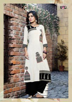 by shivali cotton on Kurties Catalog Supplier Trendy Kurti, Cushion Cover Pattern, Kurta Designs, Indian Designer Wear, Summer Wear, Fashion Outfits, Womens Fashion, Dress Patterns, Women Wear
