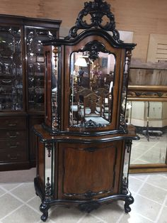 GORGEOUS ANTIQUE ORNATELY CARVED VICTORIAN MIRRORED CABINET circa 1860 #VICTORIAN